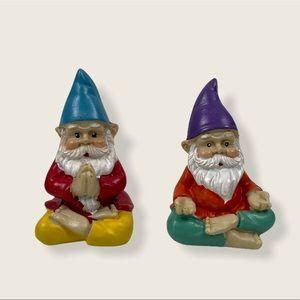 Pair Mini Standing Yoga Meditating Praying Gnome